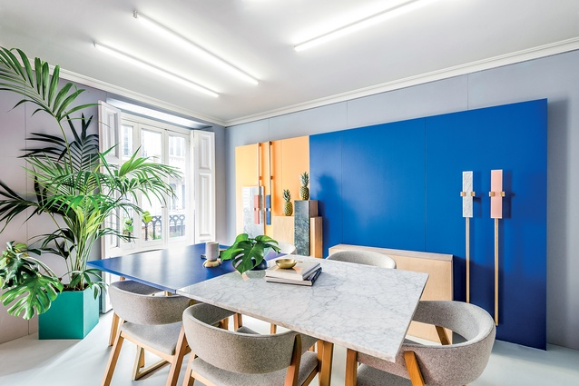 Masquespacio's recently renovated studio in Valencia, Spain, showcases the duo's colourful, contemporary and trend-focused style.