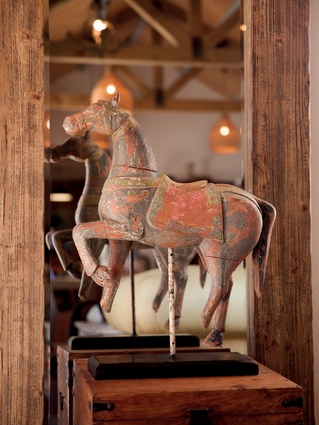 "Moroccan horse: ""It is beautiful but kind of broken,"" says Kate. ""We like its imperfections. We travelled to Morocco to research design for the King & Queen Hotel and this came back with us."""