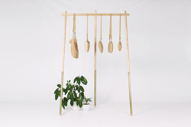 A bag stand, designed as a bespoke piece for Georgia Jay Bags in Kingsland.