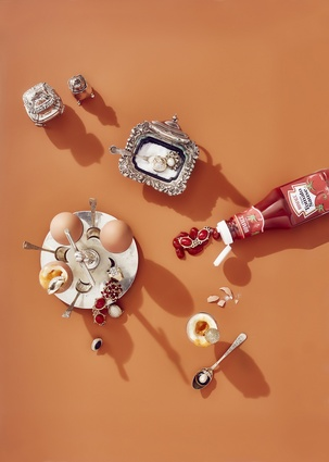 Breakfast with jewellery from the Homage collection by Kayla Jurlina.