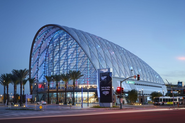 Anaheim Regional Transportation Intermodal Center by HOK, California. The bold design features a structural system of diamond-shaped steel arches infilled with translucent ETFE pillows.