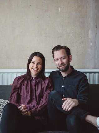 Tim Rundle and Lauren van Uden at their East London house.