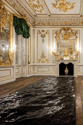 London Design Festival: French designer Mathieu Lehanneur's 'Liquid Marble', a slab of black stone carved to resemble an ocean's soothing movement, was sited in an ornate room.