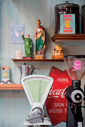 Pinball machines, signage, bottles, retro weighing machines and more – Seashore Cabaret showcases some of co-owner Matthew Wilson's eclectic collection  of memorabilia.