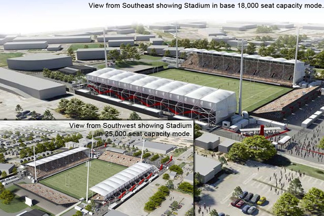 Completion date – March 2012. Christchurch Stadium by Populous, 95 Jack Hinton Drive. This multi-purpose temporary sports stadium will be Christchurch's only outdoor venue for sporting and music events.