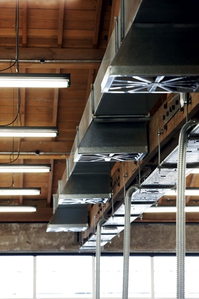 Ducting, lighting and the running of services throughout the building was left purposefully exposed.