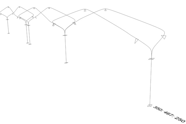 Diagram showing the centroid and section analysis of the steel armature (used for structural analysis).