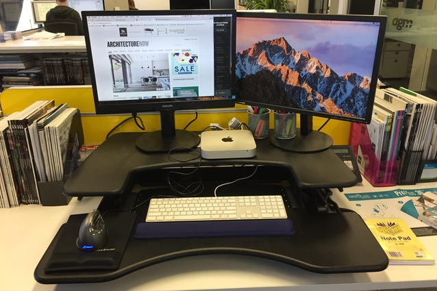 Varidesk ProPlus 36 set up in the AGM office.
