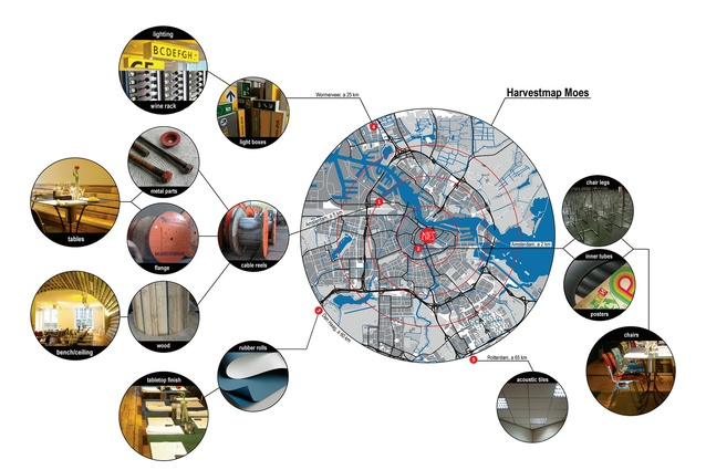 An example of the Harvest Map in use. It shows the locations of different waste materials in Amsterdam that were used to create Moes restaurant.