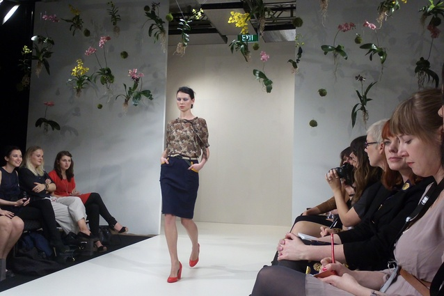 A look from Ingrid Starnes A/W 2012 collection with Xanthe White installation behind.