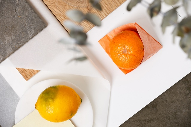 Natural tones and the colours of seasonal citrus contrast with eucalyptus leaves in Beth's Resene mood board.