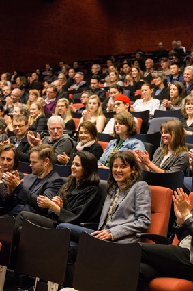 Audience enjoying the Stuart Harrison keynote lecture in Auckland, held Monday 19 September at AUT University.