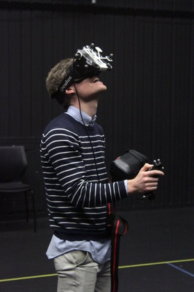 Exploring digital environments through untethered, virtual reality at the AUT Colab.