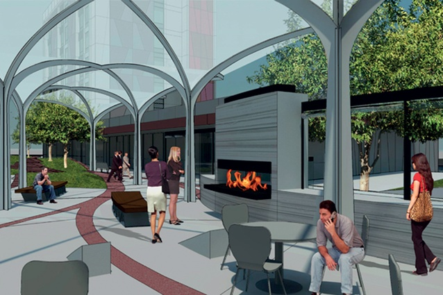 The completed development will offer a central public space between the five buildings.
