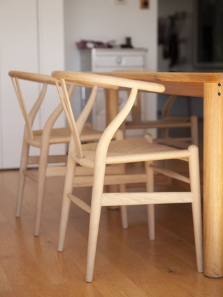 Wishbone chair: Steve: Beautifully made. Lovely iconic piece. We all make a point of sitting around the table every night. It's a nice way to engage the kids.