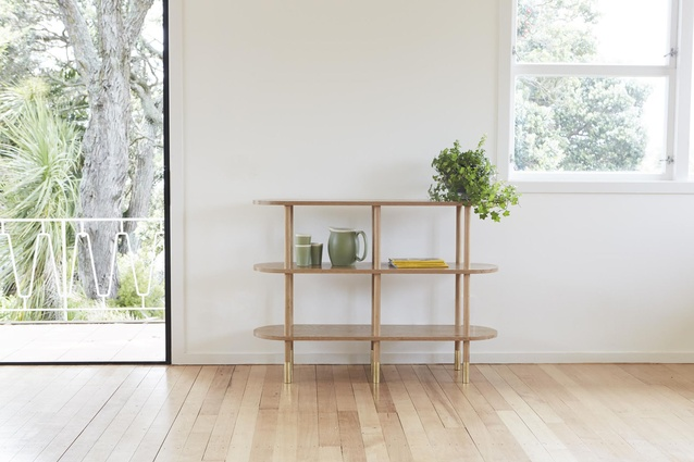 The Aspect shelf, made with solid American oak.