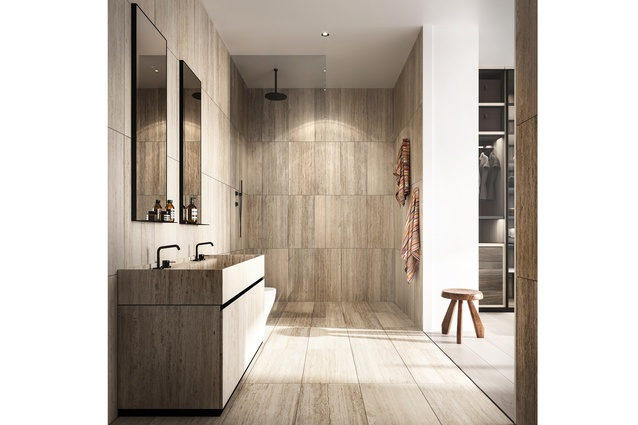 Interiors are subtly designed in natural materials.