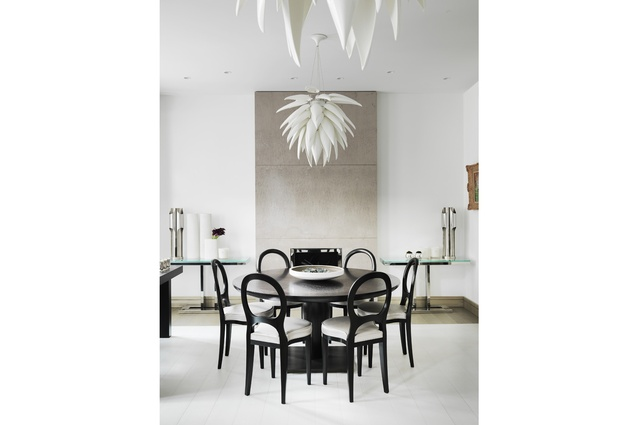Jeremy Cole's lights feature in this London apartment designed by Kelly Hoppen.