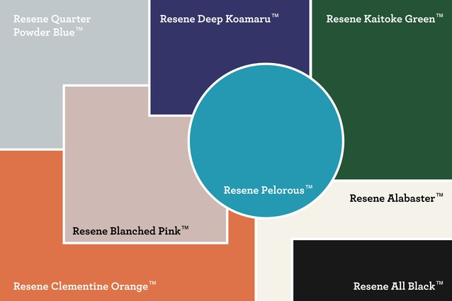 The various Resene colours that feature in the mood board.