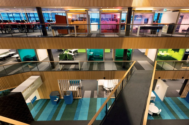 The colour scheme of the three floors reflects the Tauranga landscape, with reds for Mauao (Mt Maunganui), greens for ngahere (forest) and blues for moana (sea).