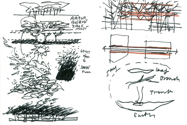"Western screen and concept sketches ""generated from an artist's image of decaying leaves"", including Pohutakawa and Rata by Philip Simpson."