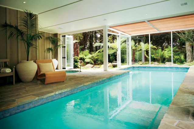 The lodge includes a spa, described by <em>Travel + Leisure</em> as one of the best in New Zealand.