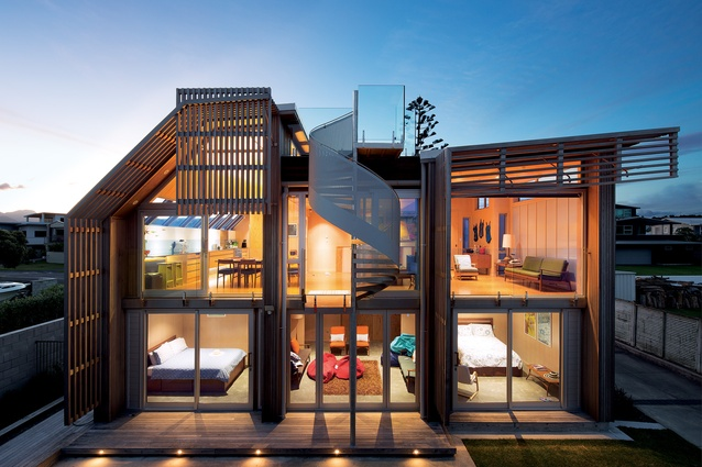 Pipi beach house architecture now for Holiday home designs new zealand