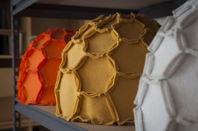 Asquith's Nectar pendant lights in mustard, orange and grey.