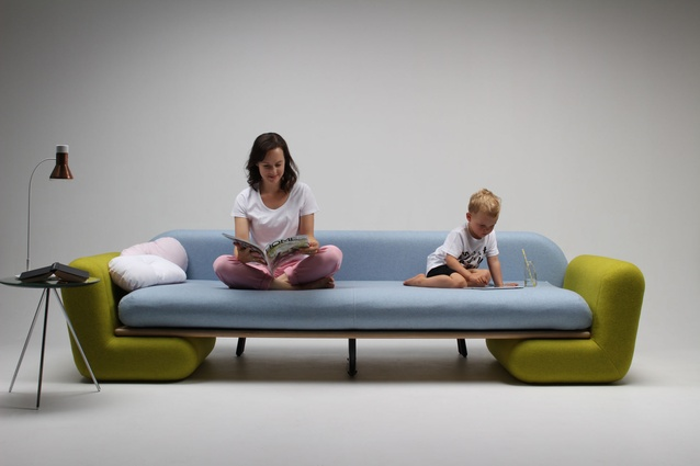 Reber designed the couch for both adults and children.