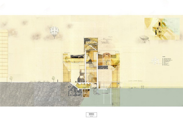 Finalist: Student – Taylor Chan (University of Auckland) – Auckland Harbour Board Building Reimagined.