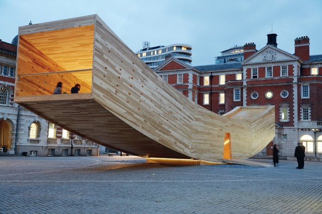 London Design Festival: Alison Brooks Architects designed an arc-like pavilion structure called 'Smile' that appears to defy gravity as its cantilevered arms curve up 3m off the ground at each end.