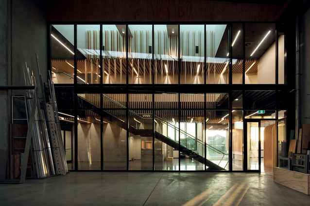 The inter-connectivity between the workshop spaces and the office spaces creates a sense of unity within the building.