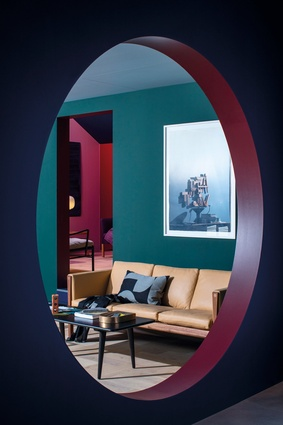 Danish homeware brand owners Carl Hansen & Søn built a mock apartment called Milan Home, designed by Despina Curtis, which featured rich colours and mid-century furniture.