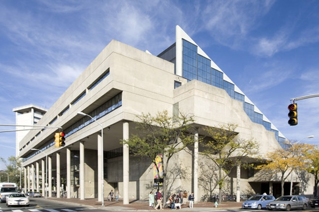 Harvard University Graduate School of Design's Gund Hall, designed by Australian architect John Andrews, 1972.