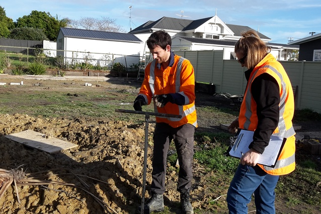 Coffey undertaking soil testing on site to determine soil types and strengths for the structural engineers.