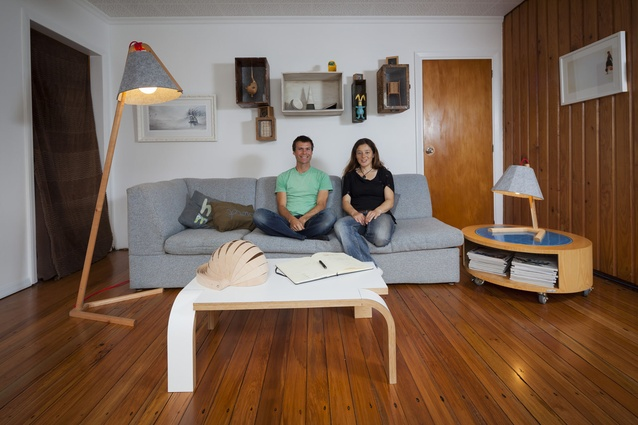 Tim Wigmore and Rebecca Asquith in their Miramar, Wellington, living room.