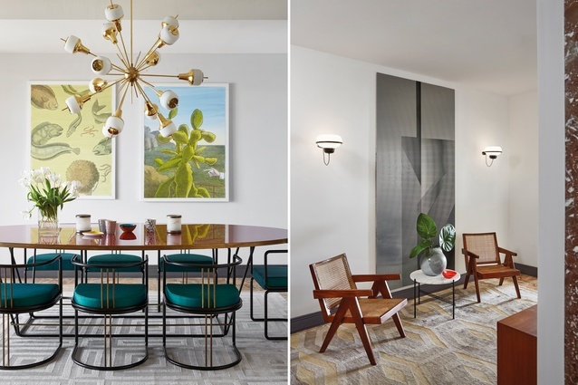 Dining room (L). Table is Sedia 033 from Dimore Gallery; chairs are Tavolo 032 from Dimore Gallery; chandelier is Sputnik by Fedele Papagni | Entrance hall (R). Wall art by Ned Vena.