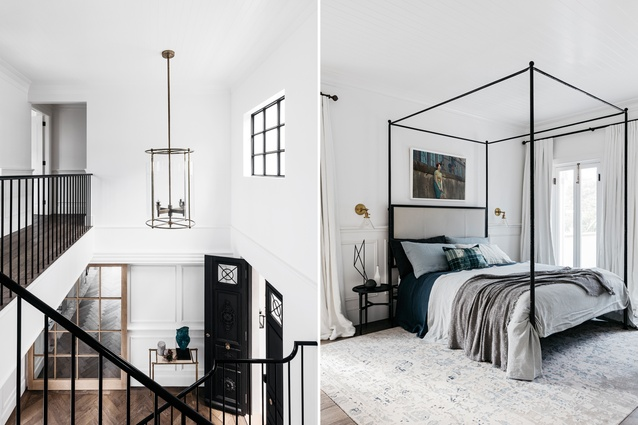 L: The iron doors were originally from Spain. Heavily rusted, they were hand-sanded and then painted with micaceous paint. R: One of the guest bedrooms. Bed is Marco by Oly from Coco Republic. Artwork is by Juli Balla.