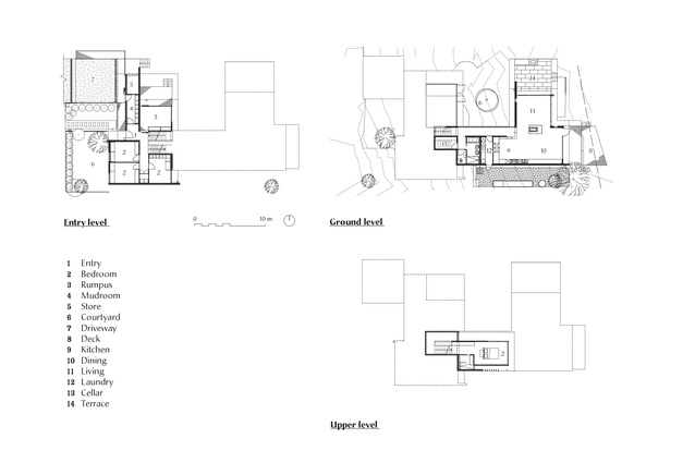 Plans of River's Edge House by Stuart Tanner Architects.