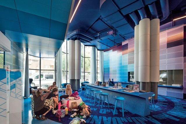 The ground floor of the Geelong Library is designed for children and young people and features a landscaped balcony at treetop level.