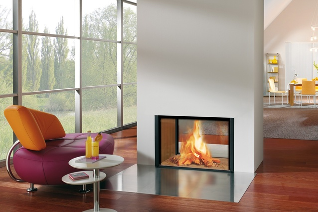 """<a href=""""http://www.spartherm.com/en/products/fireplace-inserts/product/show/arte-3rl-100h/"""" target=""""_blank""""><u>Spartherm Arte</u></a> is a double-sided wood fire is of an elegant and linear design."""