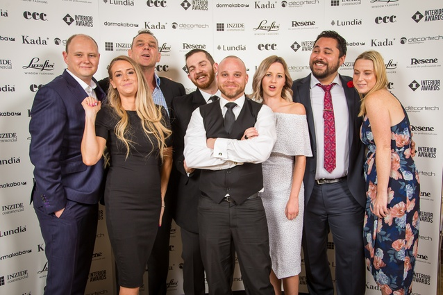 John Eastwood, Abby Holyoake, Karl Hitchens, Bryn Howitt, Armand Bezuidenhout, Eryn Walker, Sam Bracey and Amy McTavish (Interior Awards sponsor dormakaba).