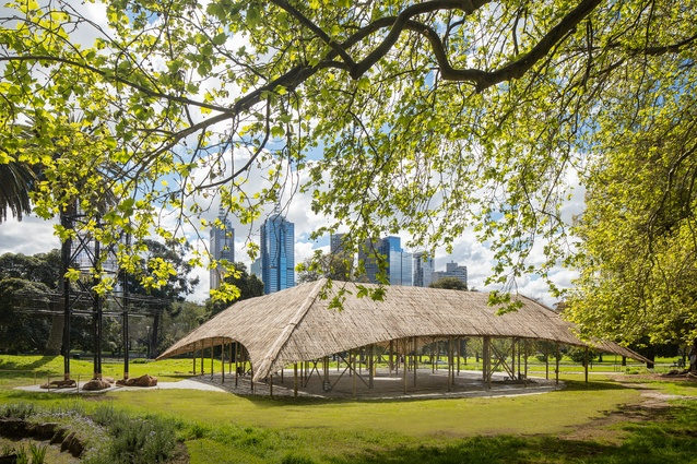 The 2016 MPavilion by Studio Mumbai in the landscape of Melbourne's Queen Victoria Gardens.