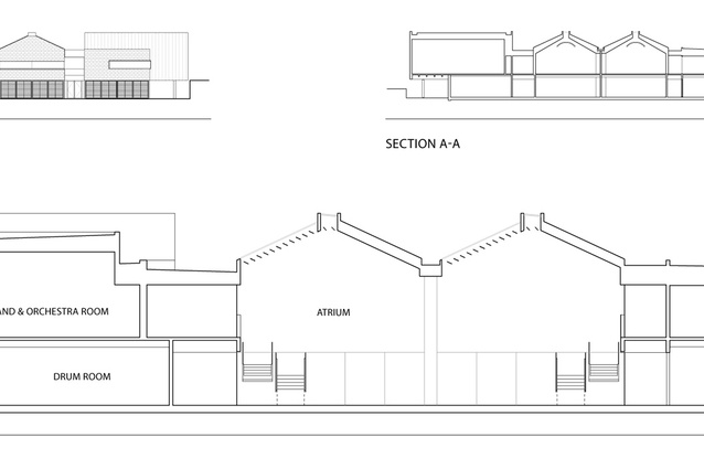North elevation - Market Road, Section A-A and Section B-B.