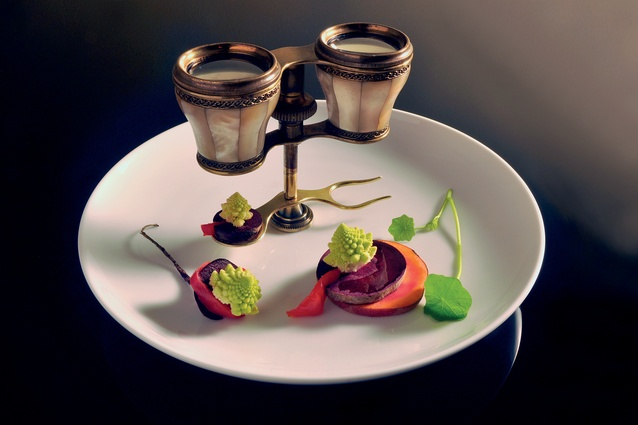 Cutlery and dishware made by Sergey Jivetin from antique opera binoculars for the Experimental Gastronomy events.