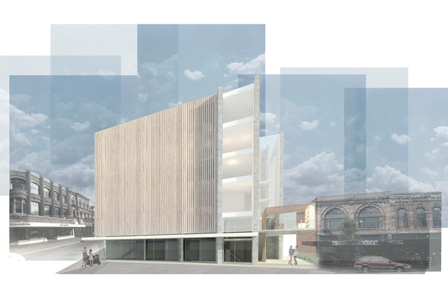 Peggy Russell's proposal for 191 High Street (exterior perspective from High Street) includes retail on the ground floor and residential space above.