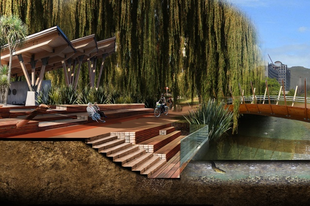 Early conceptualisation of Avon River Aspirations by Royal Associates Architects, Christchurch.