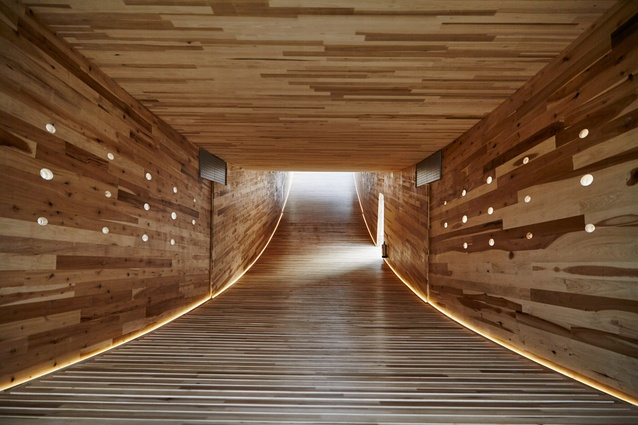"""The Smile is built in the shape of an arc with viewing balconies at each raised end, and is touted as the """"first project in the world to use large hardwood CLT panels""""."""