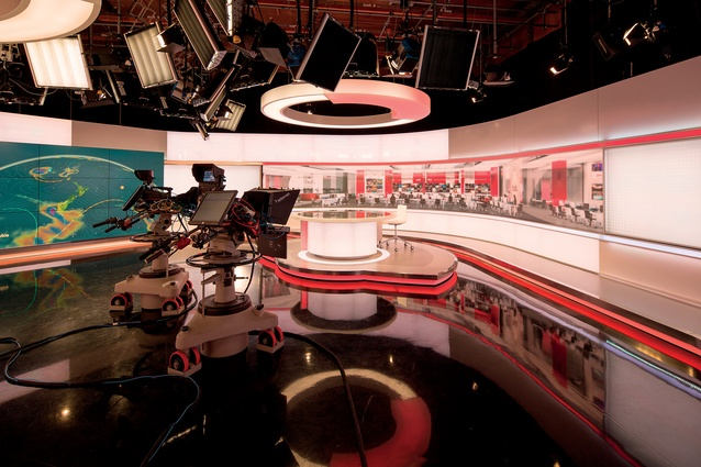 Medium-specific production suites, such as this television studio, smoothly flow into each other throughout the wider, open-plan space.